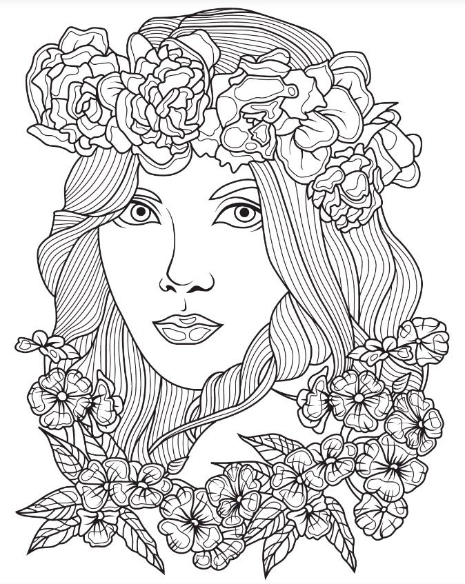 674x847 Beautiful Faces Coloring Page Colorish App Free Coloring App