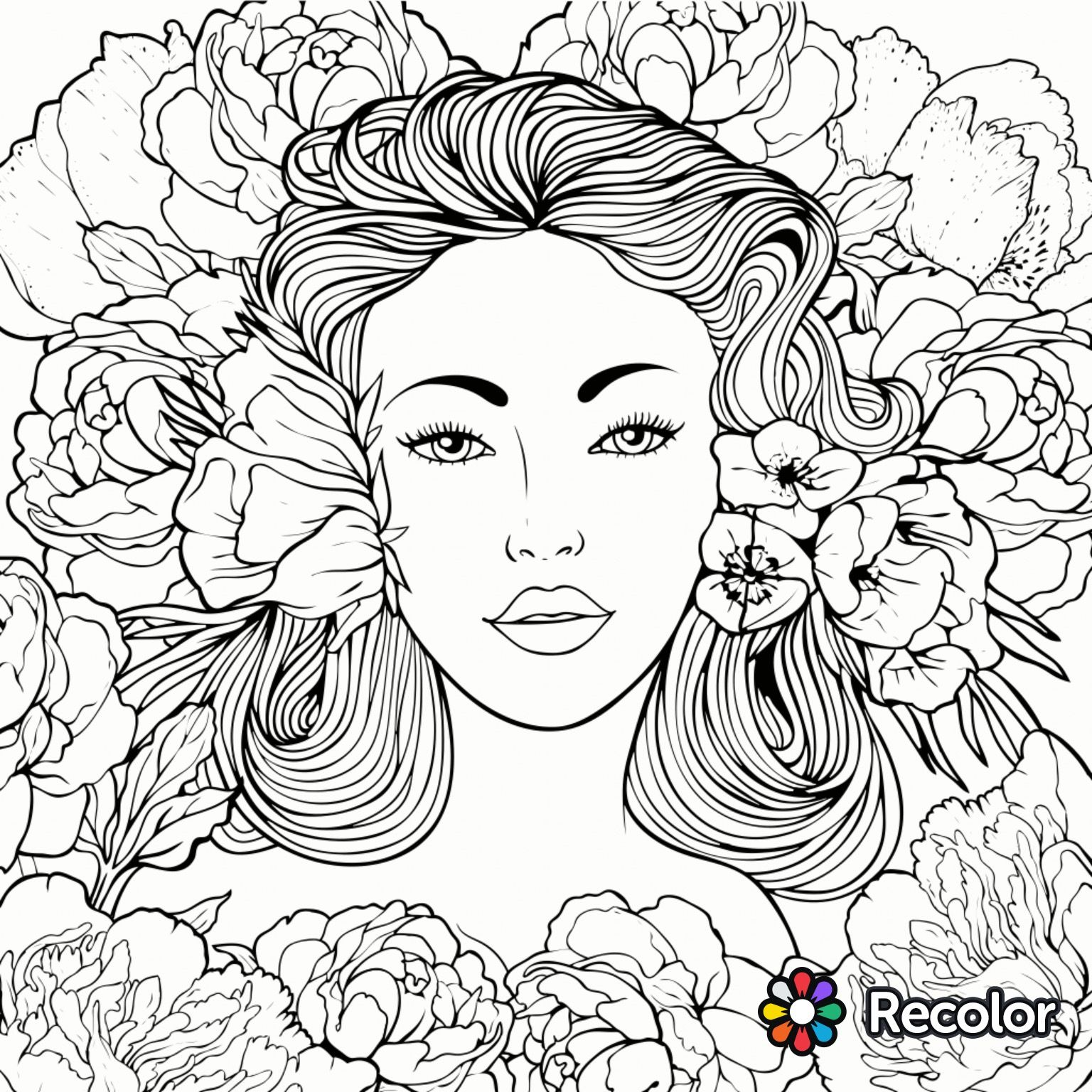 1536x1536 Beauty Coloring Page Recolor App Beautiful Women Coloring