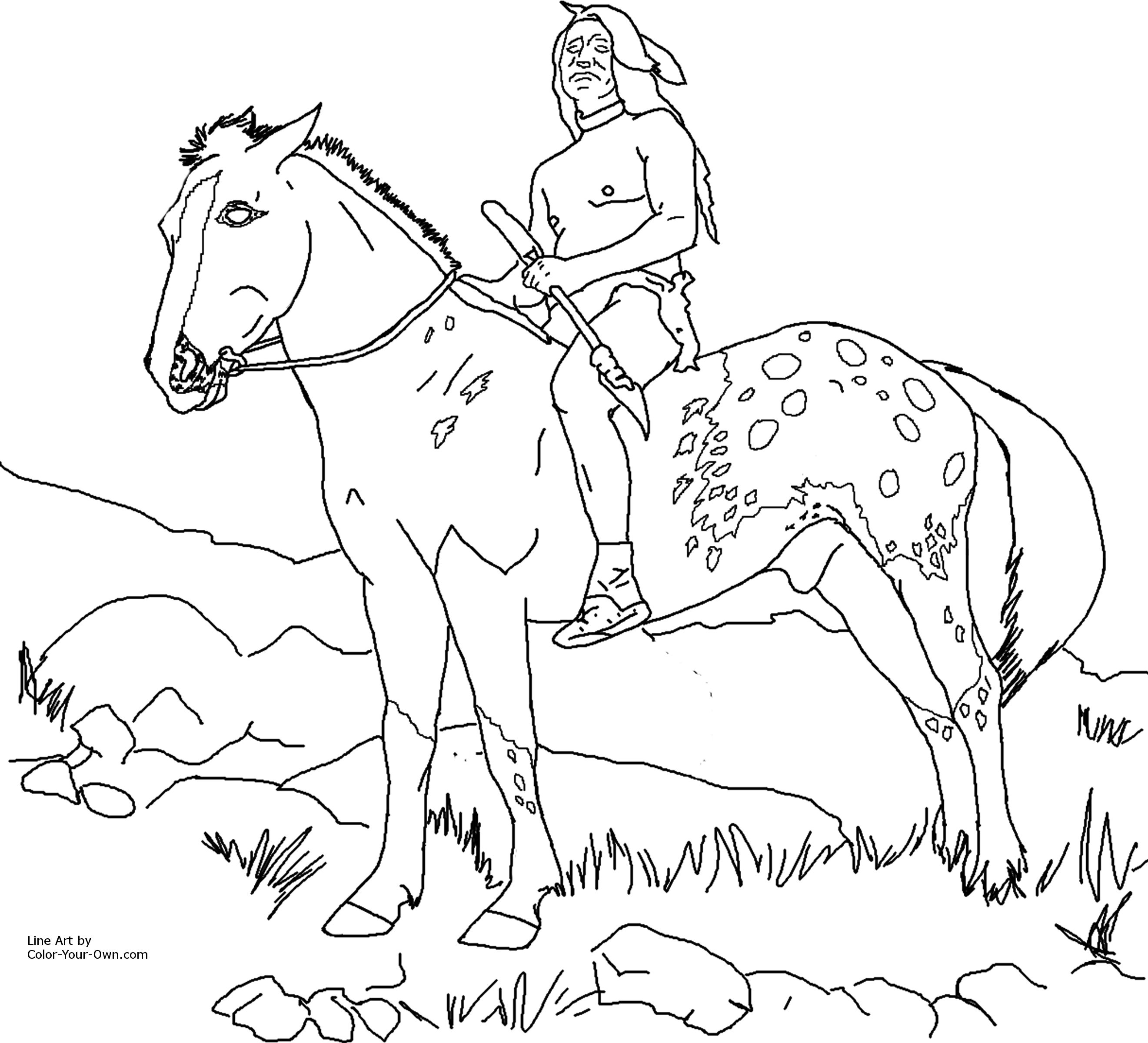 2641x2400 Nez Perce Native American On Appaloosa Horse Coloring Page