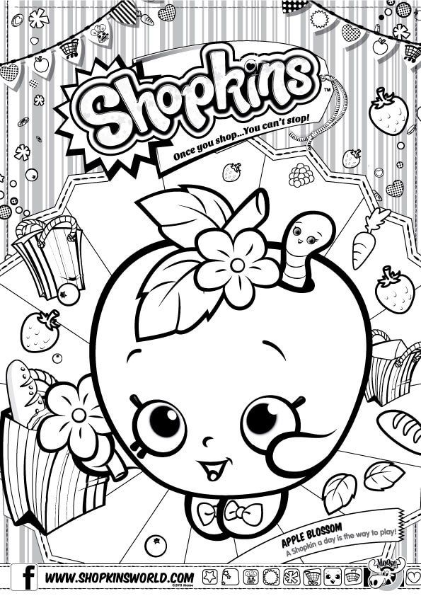 595x842 Shopkins Coloring Pages Season Apple Blossom Party