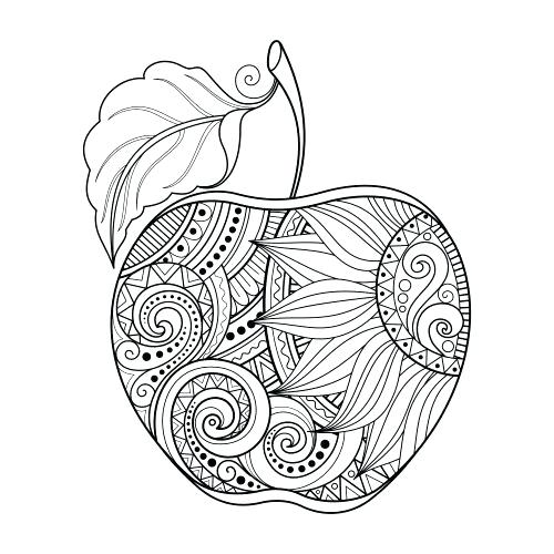 500x500 Apple Tree Color Sheet Four Apples Coloring Page Kids Coloring