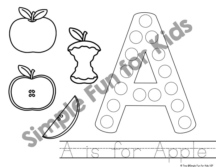 700x541 A Is For Apple Dot Marker Coloring Pages {day Of Apple