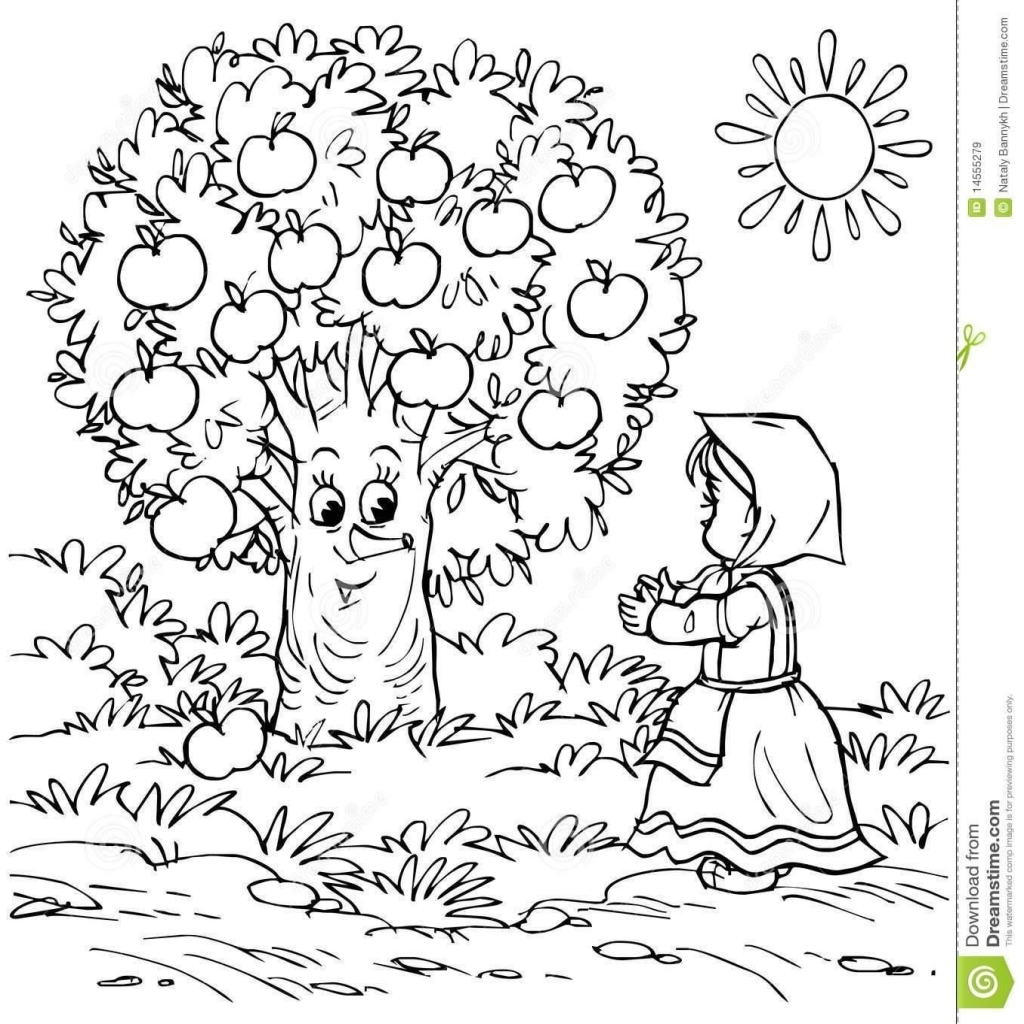 1024x1024 Apple Picking Coloring Pages Coloring Sheets Throughout The Most