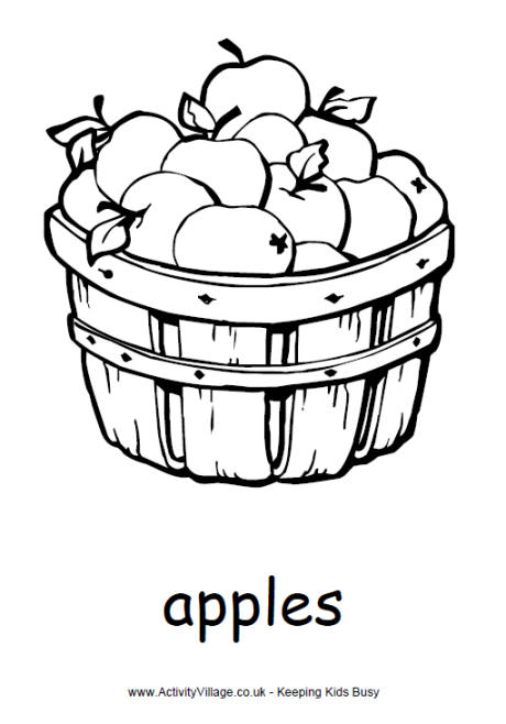 460x658 Basket Of Apples Colouring Page