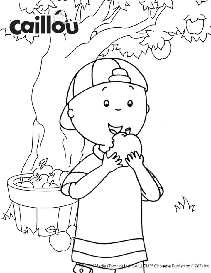 719x930 Caillou's Apple Picking Fun Coloring Sheet! Fallhalloween