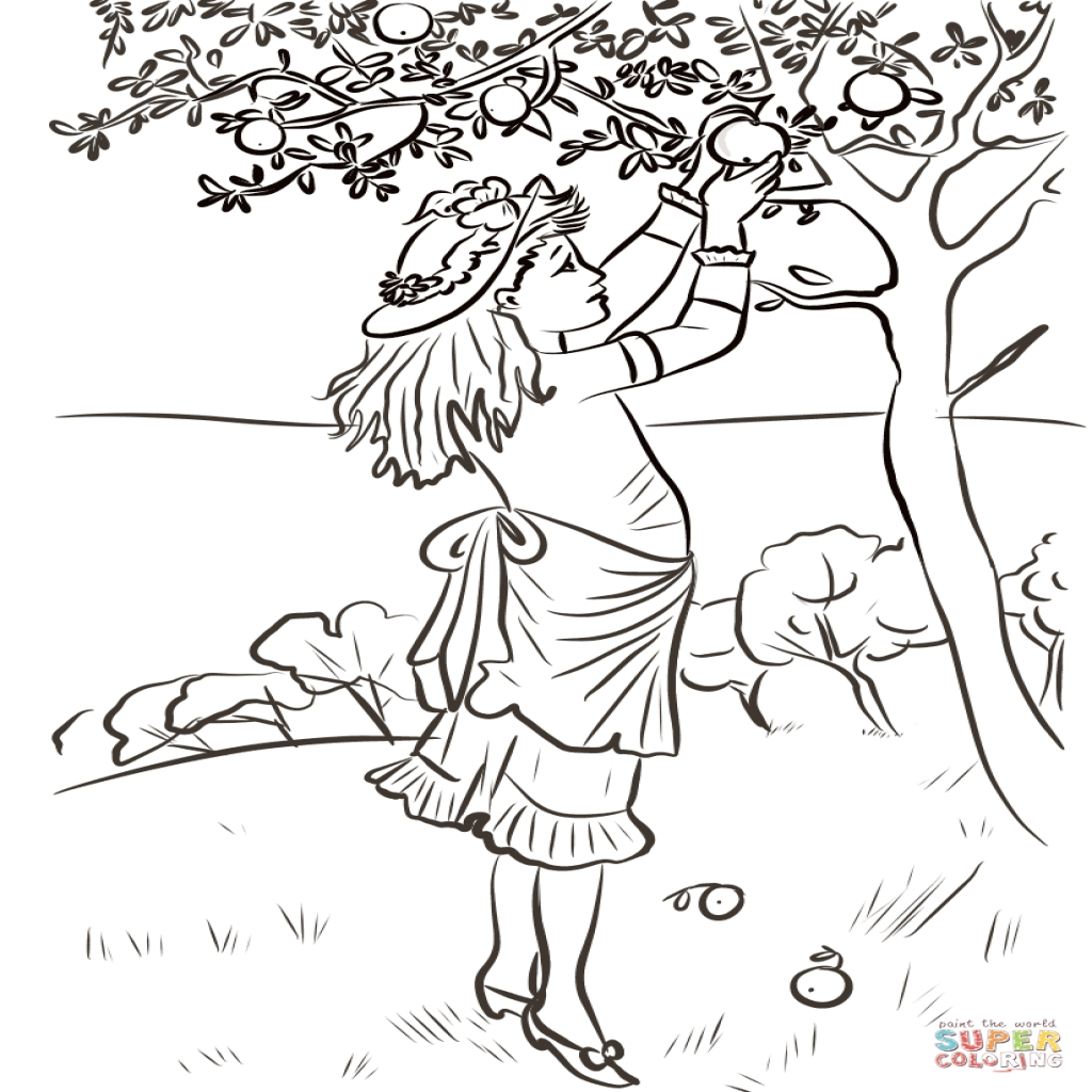 1024x1024 Girl Picking Apples Coloring Page Free Printable Coloring Pages