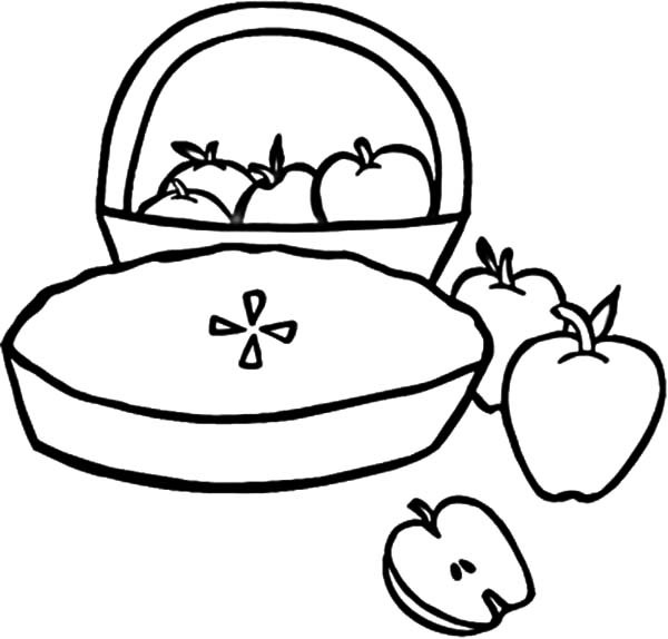 600x574 Apple Pie And Apple Basket Coloring Pages Best Place To Color