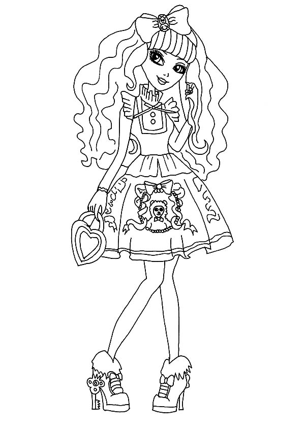 600x849 Ever After High Sweet Girl Apple White Coloring Pages