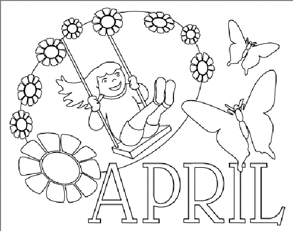 571x450 April Coloring Pages Printable Happy April Spring Coloring Sheet