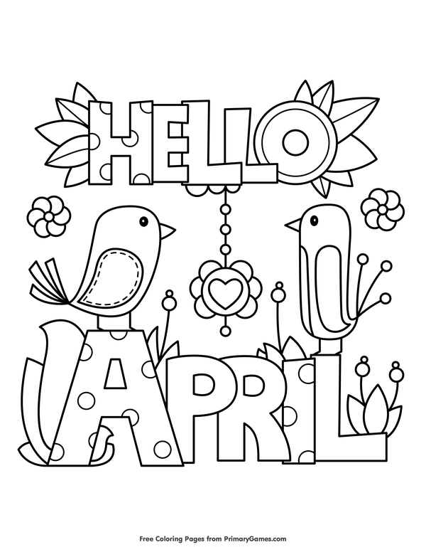 600x776 Spring Coloring Pages Ebook Hello April Spring Colors, Free