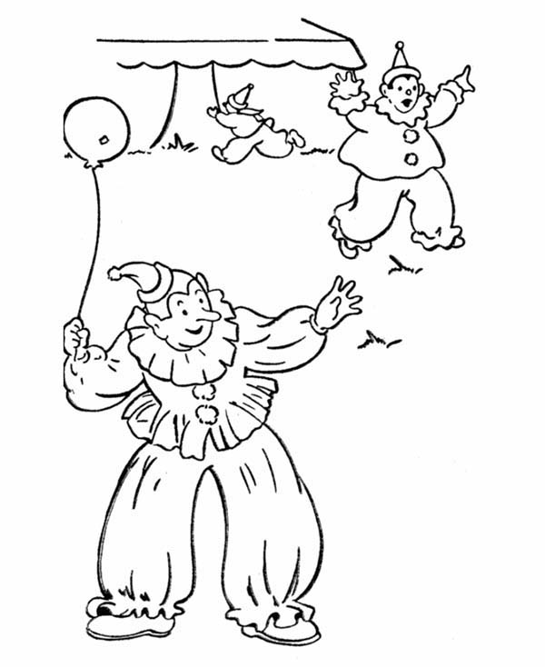 600x734 Three Clowns On April Fools Day Coloring Page Color Luna