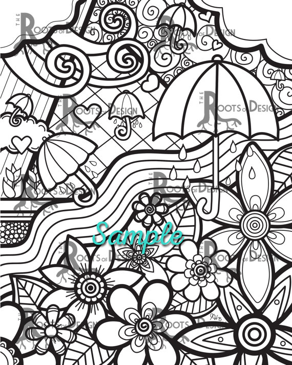 570x713 Instant Download Coloring Page April Showers Bring May
