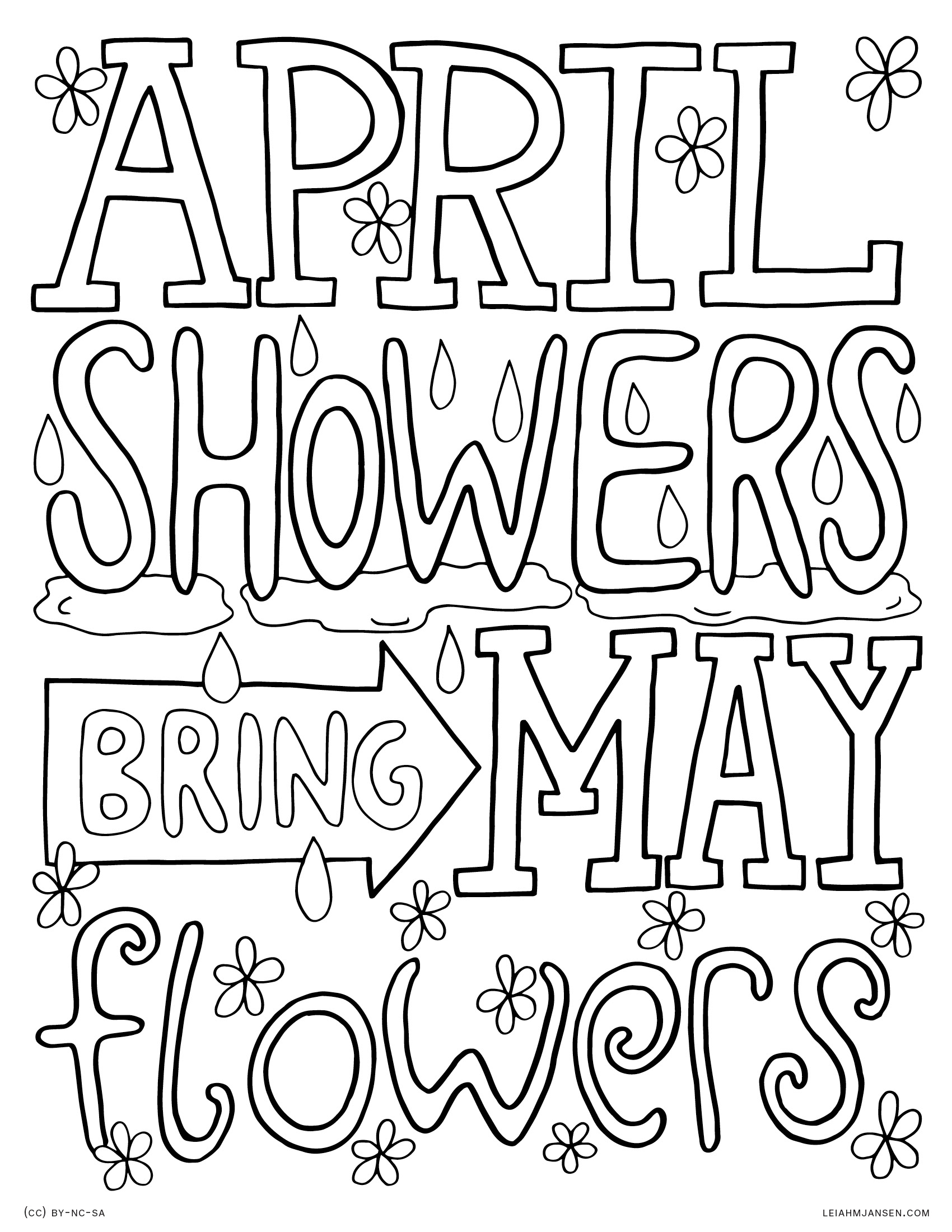1700x2200 Lmj Coloring Page April Showers Pages For May