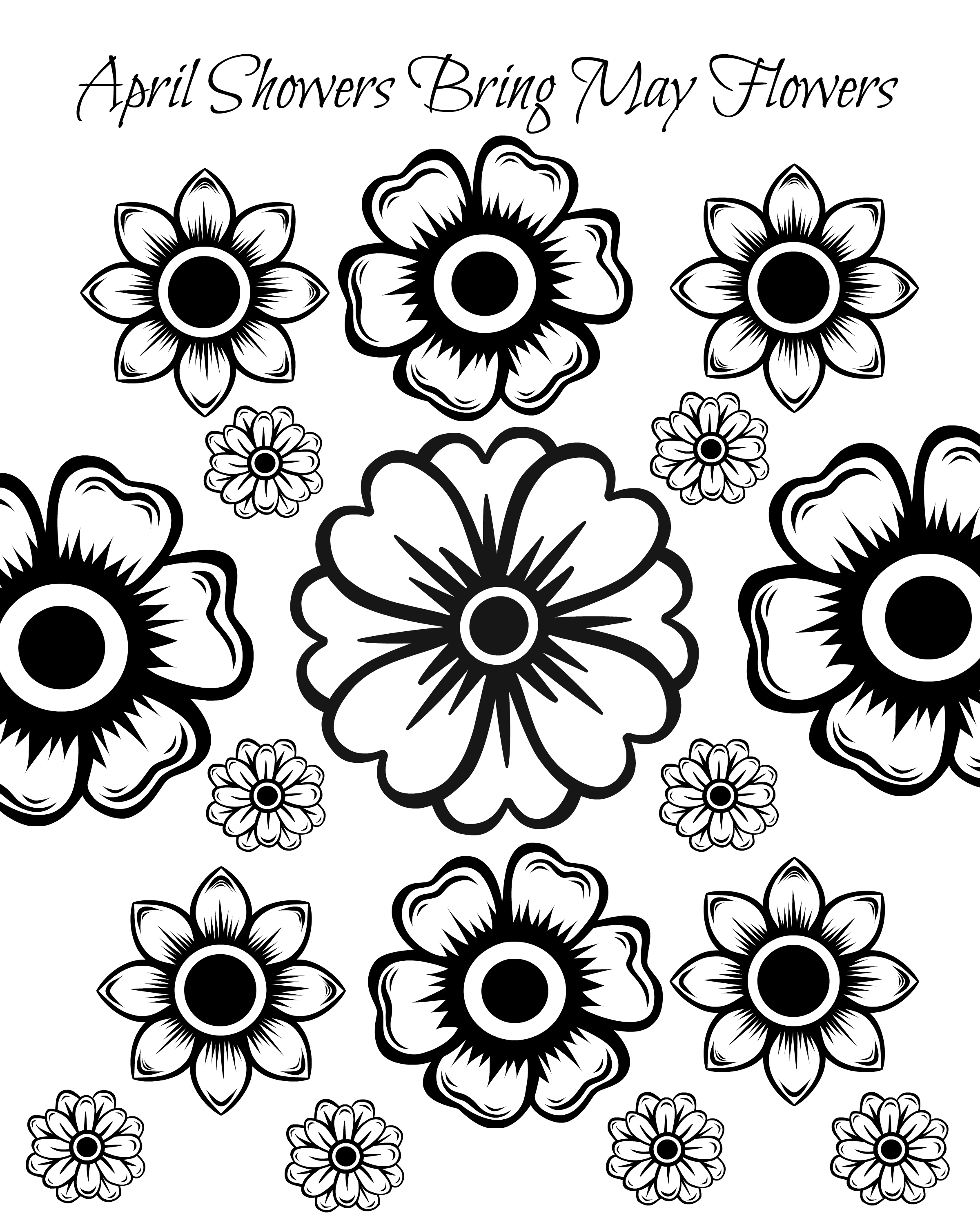 2400x3000 New Free Printable May Flowers Adult Coloring Page