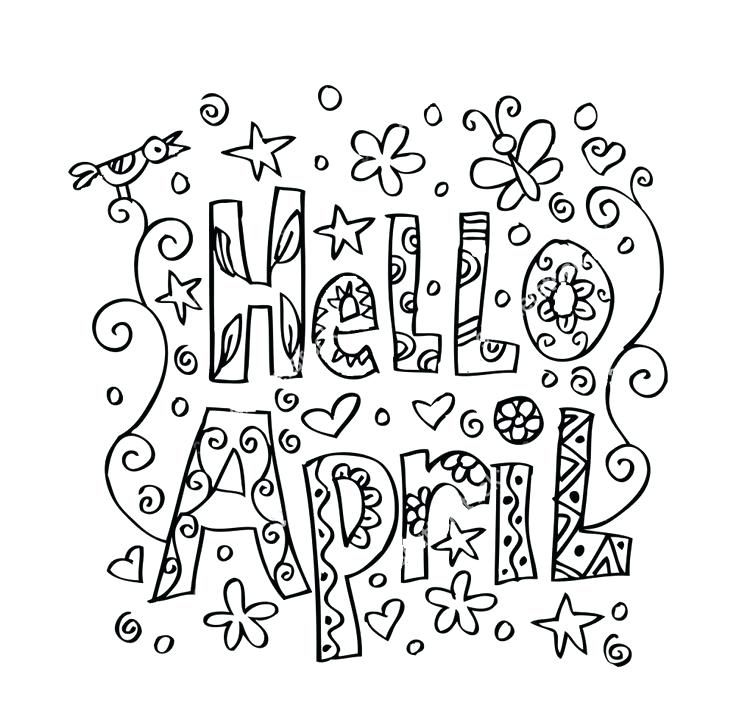 736x721 April Coloring Pages Hello Coloring Page April Showers Bring May