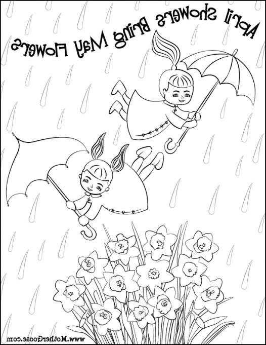 526x681 April Showers Bring May Flowers Coloring Page