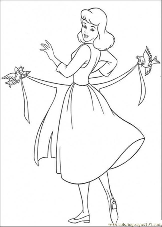 650x912 Birds Help Cinderella To Use Her Apron Coloring Page
