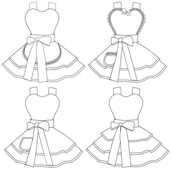 570x577 Design Your Own Apron Coloring Pages Digital Instant Download