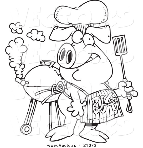 600x620 Vector Of A Cartoon Bbq Pig Wearing A Pig Out Apron
