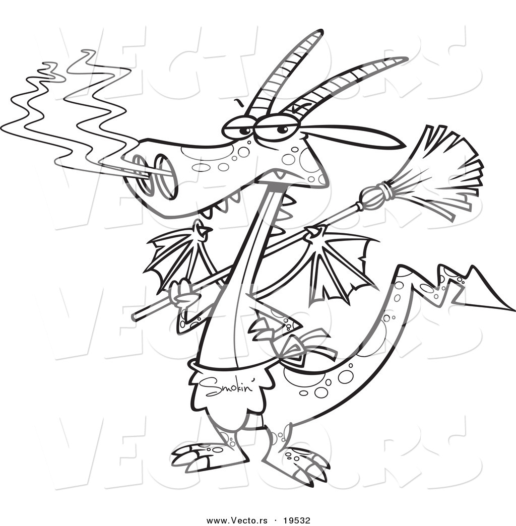 1024x1044 Vector Of A Cartoon Dragon Wearing An Apron And Holding A Broom