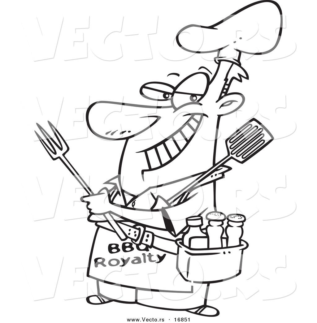 1024x1044 Vector Of A Cartoon Man Wearing A Bbq Royalty Apron
