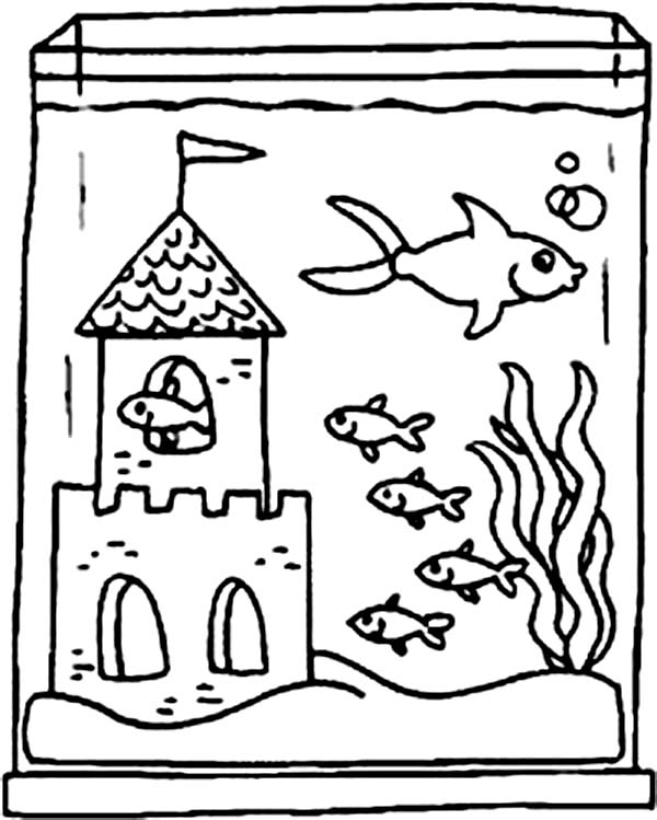 600x749 Fish Tank And Castle Inside Coloring Page