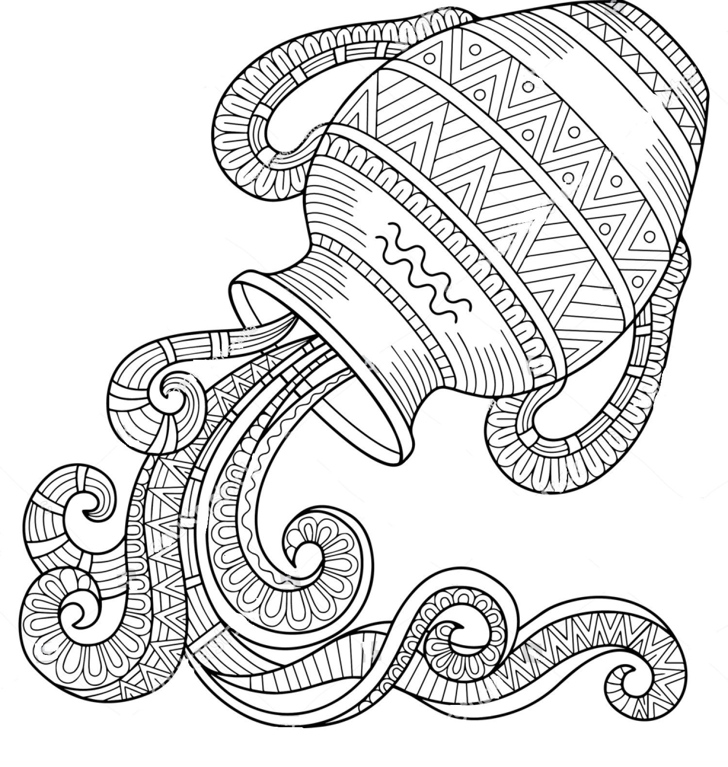 1500x1580 Aquarius Horoscope Zentangle Coloring Page Zentangle Coloring