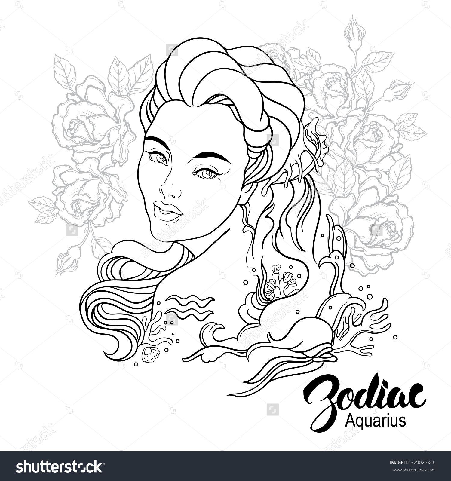 1500x1600 Stock Photo Zodiac Illustration Of Aquarius As Girl With Flowers