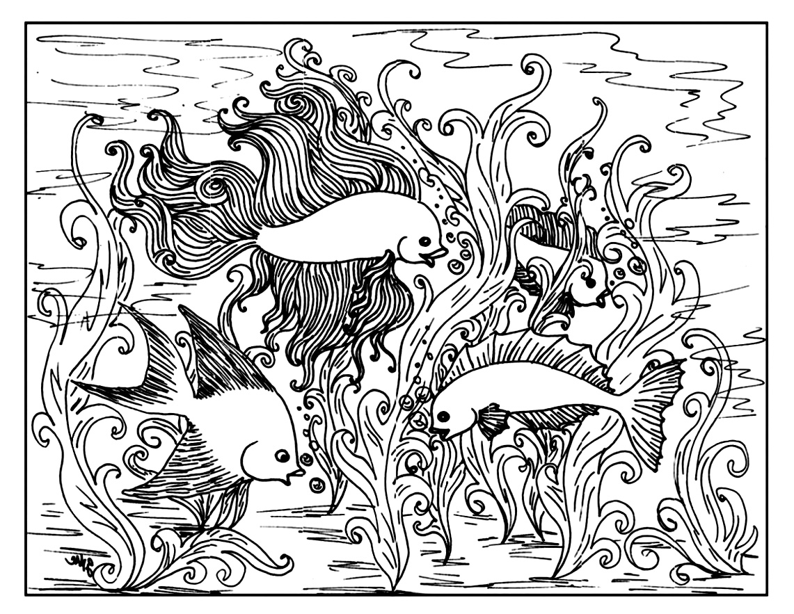 1141x883 Free Coloring Page Coloring For Adult Adult Coloring Of Fish
