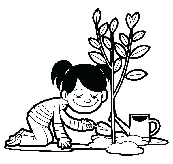 600x569 Plant Coloring Pages A Girl Planting A Tree On Arbor Day Coloring