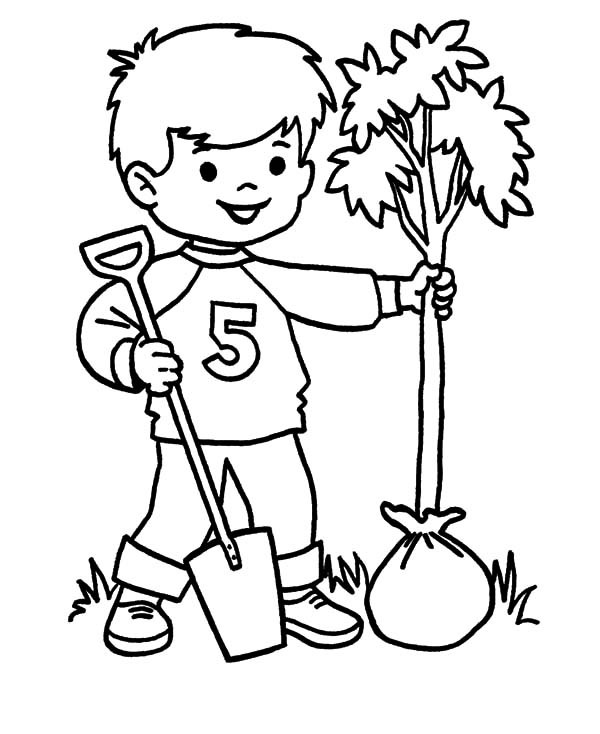 600x734 Prepare To Plant A Tree On Arbor Day Coloring Pages Best Place