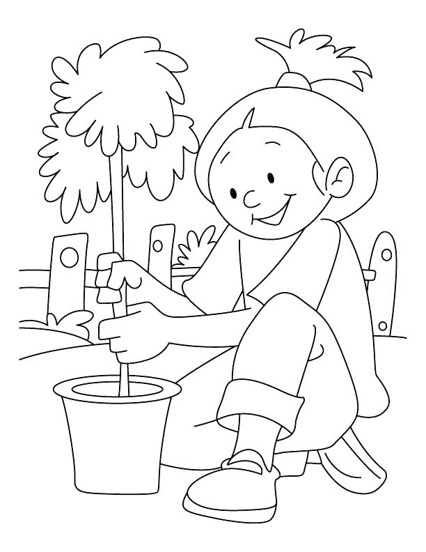 612x792 Save The Earth Coloring Pages A Girl Planting Tree On Arbor Day