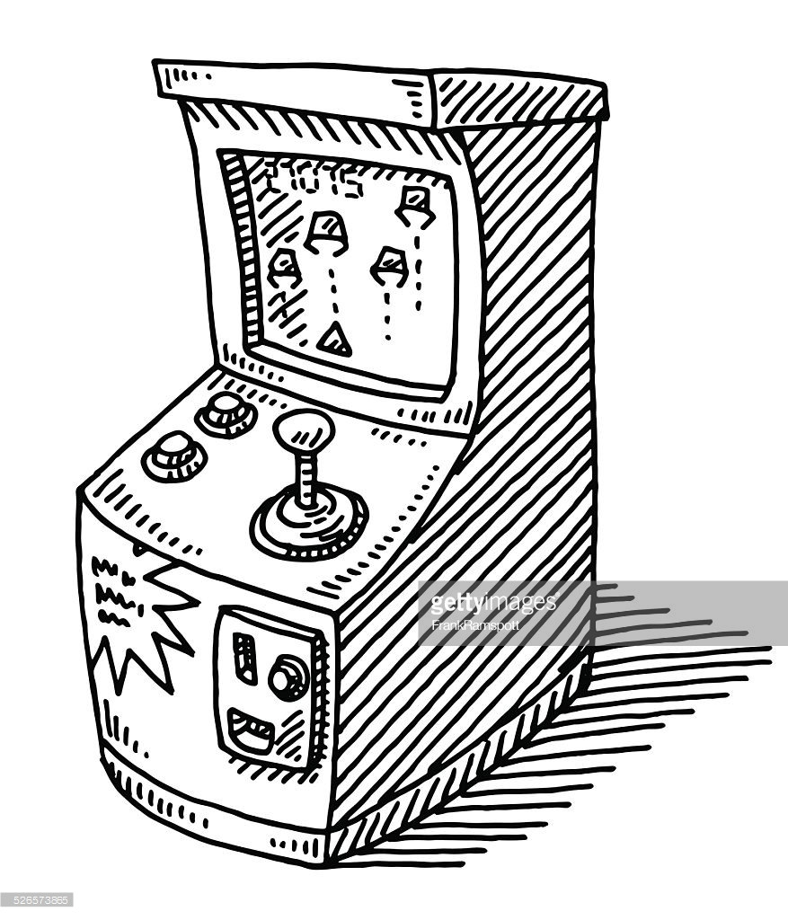 877x1024 Coin Operated Arcade Video Game Drawing Vector