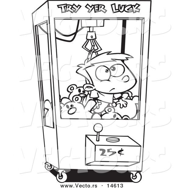 600x620 Vector Of A Cartoon Boy Stuck In A Toy Machine