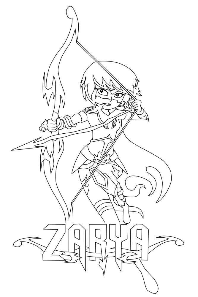 667x1000 Zarya Mysticons Archer Coloring Page
