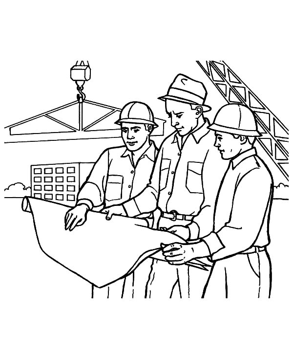600x734 Architect On Construction Working On Jobs Coloring Pages Batch