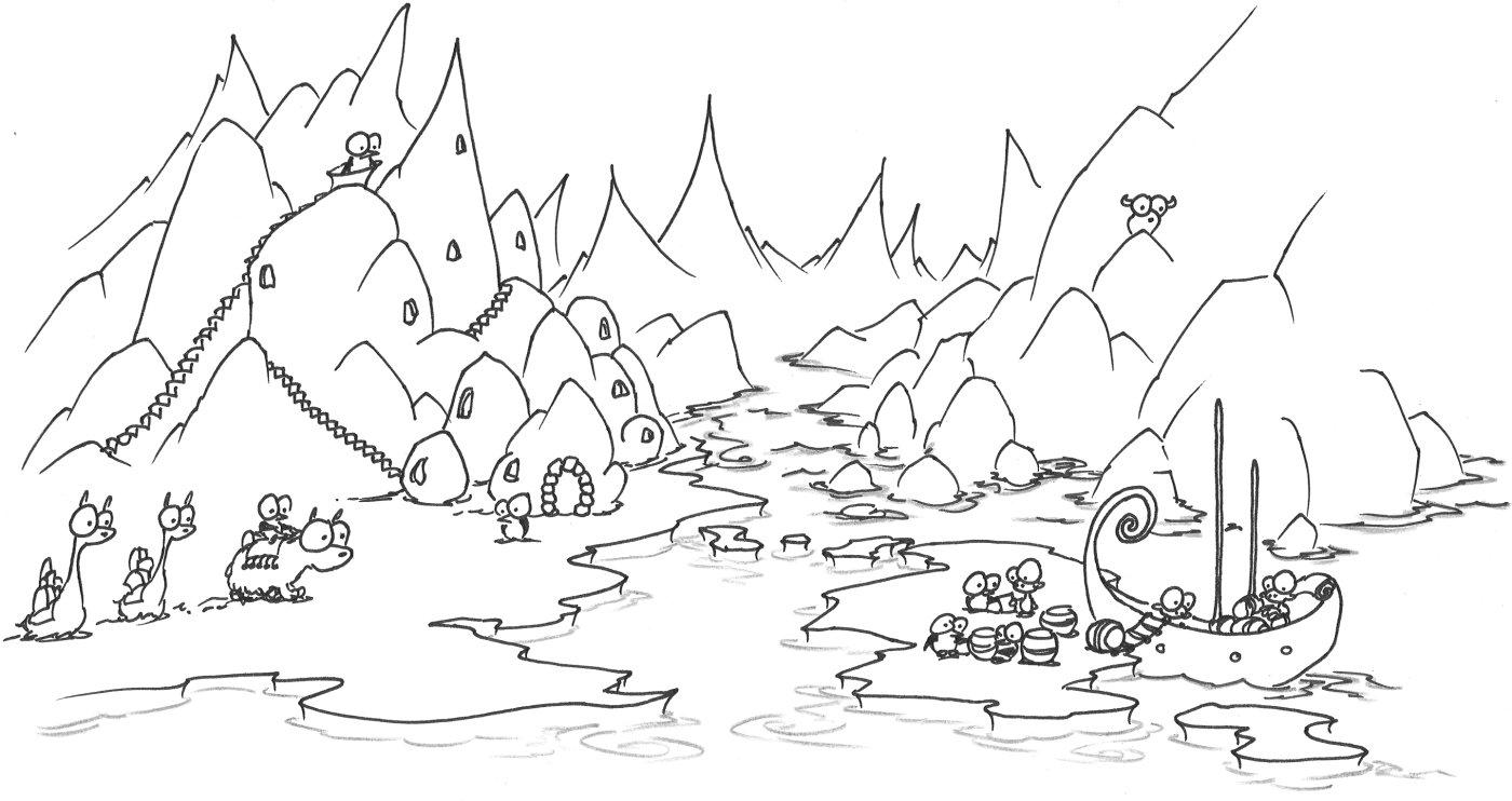 1400x742 Coloring Page An Arctic Penguin Village