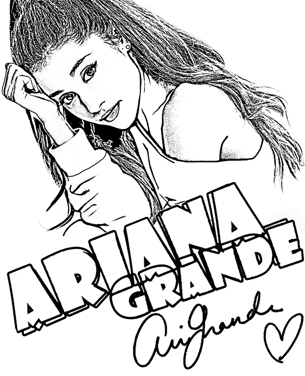 600x740 Coloring Pages Of Ariana Grande