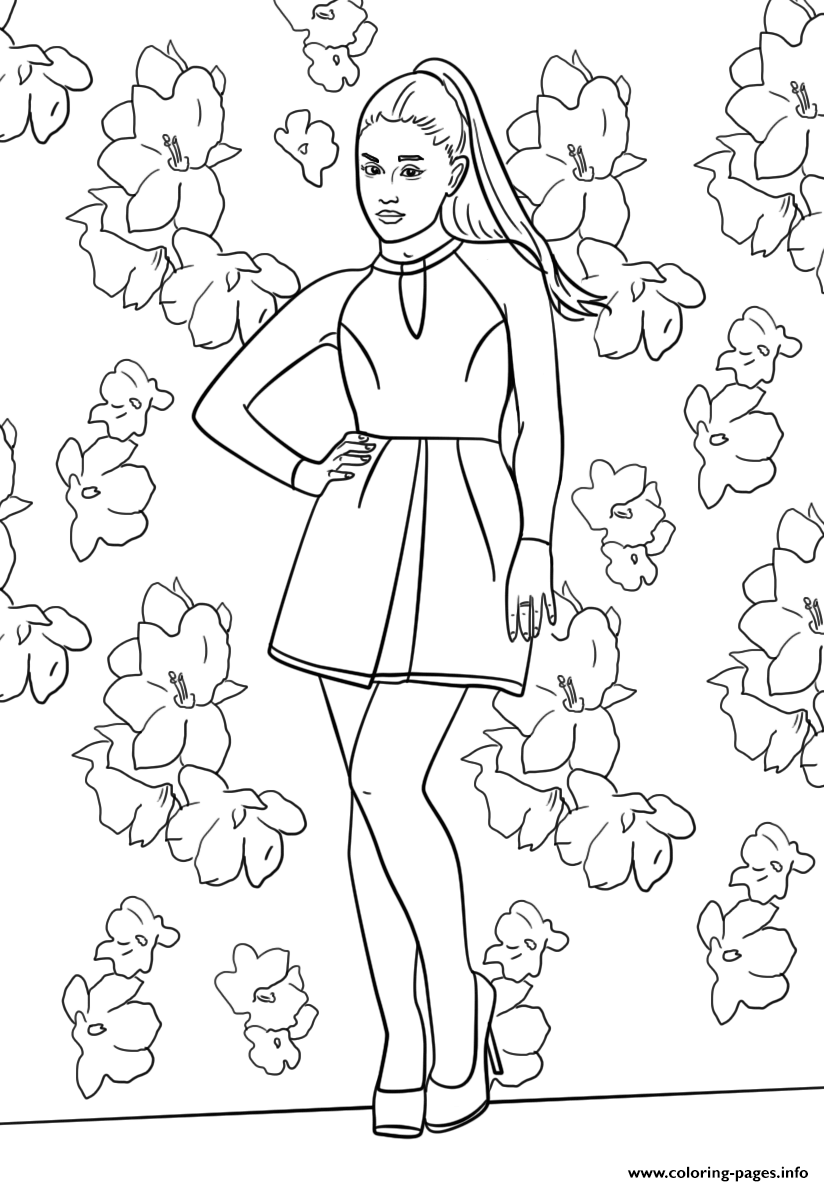 824x1186 Ariana Grande Celebrity Coloring Pages Printable