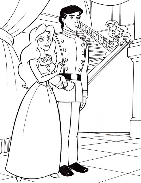 600x775 Ariel, Walt Disney Ariel And Prince Eric Coloring Page Walt