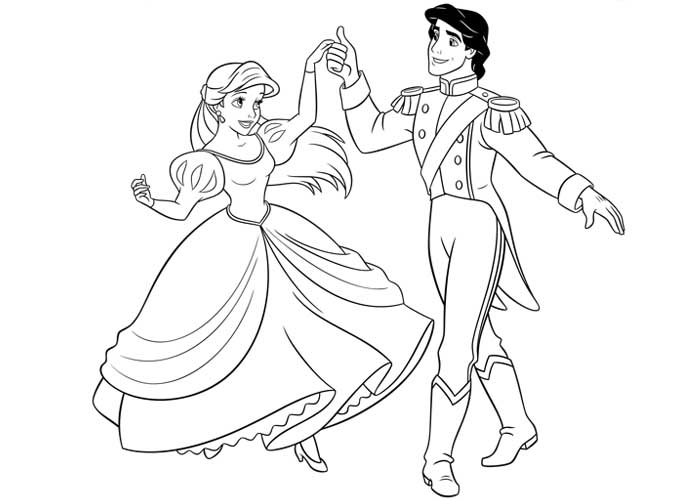 700x500 Disney Ariel And Eric Coloring Pages