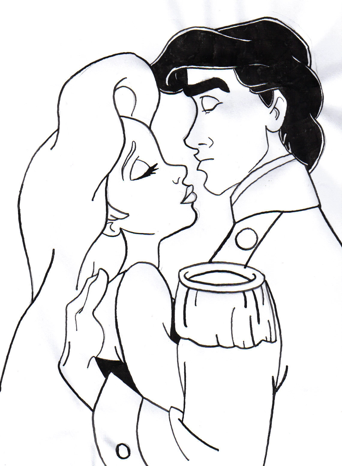 1140x1552 Ariel And Eric Kissing Coloring Pages