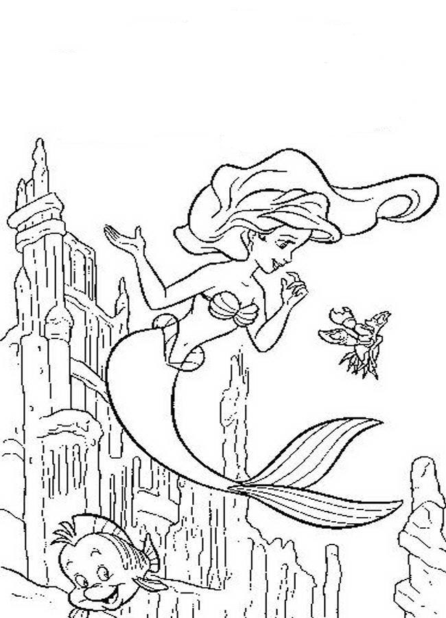 650x900 Ariel And Flounder Coloring Pages Many Interesting Cliparts