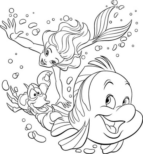 600x649 Ariel And Flounder Coloring Pages Qlyview Com Within Decor