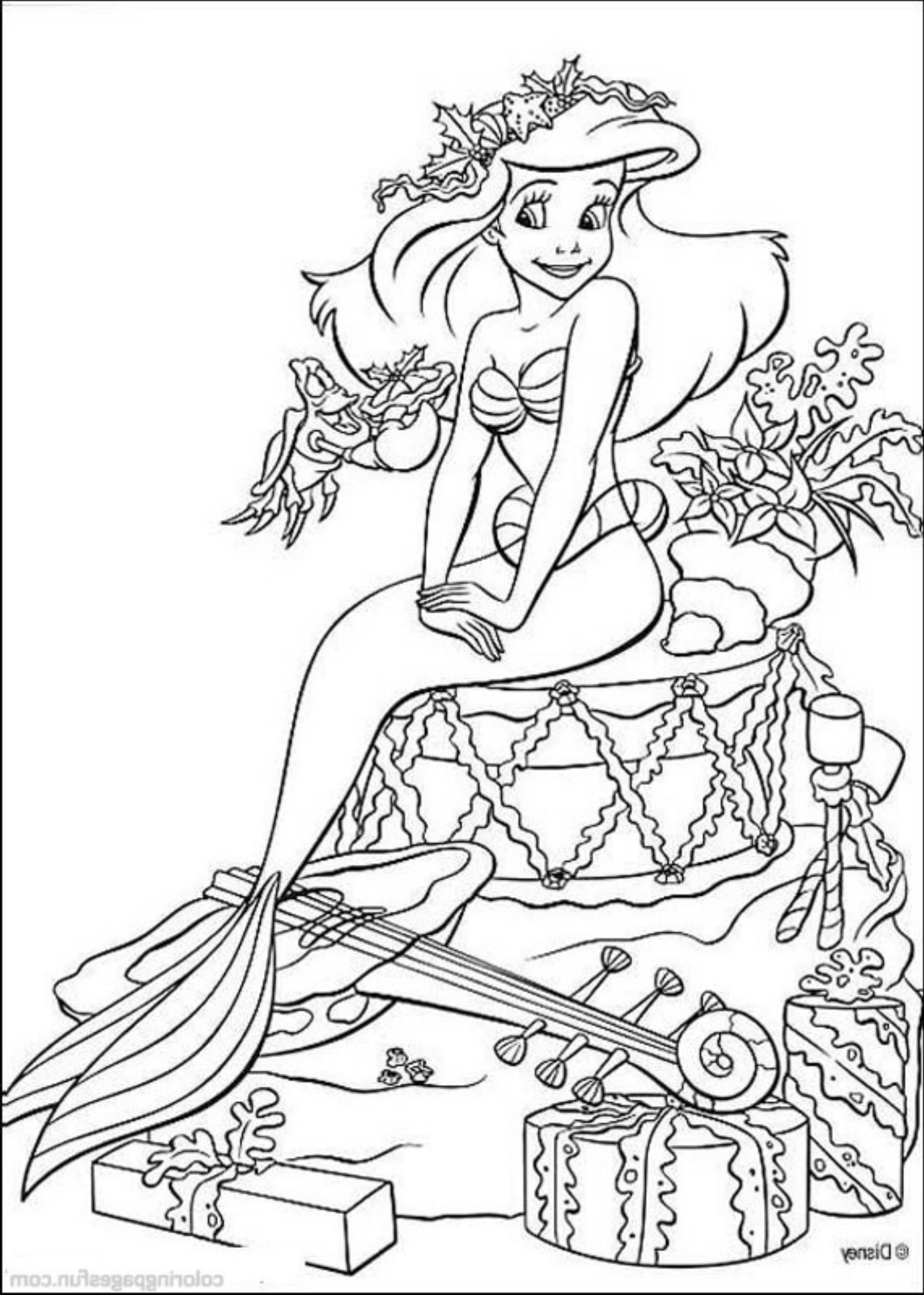 2551x3574 Mermaid Coloring Pages For Christmas