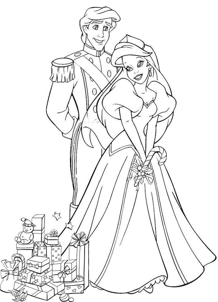 736x1017 Princess Ariel Christmas Coloring Pages Coloring