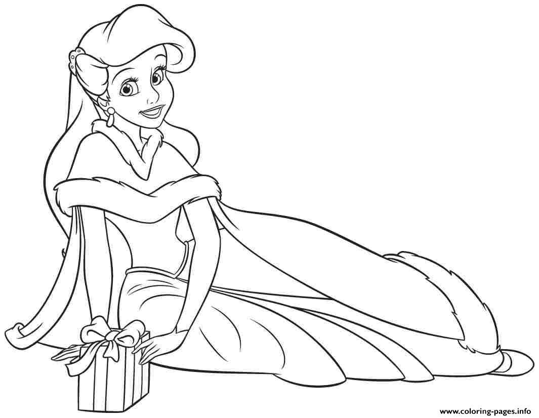 1065x826 Princess Ariel Human Christmas Coloring Pages Printable