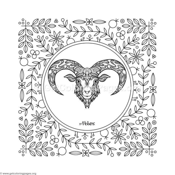 700x700 Aries Zodiac Element Coloring Pages