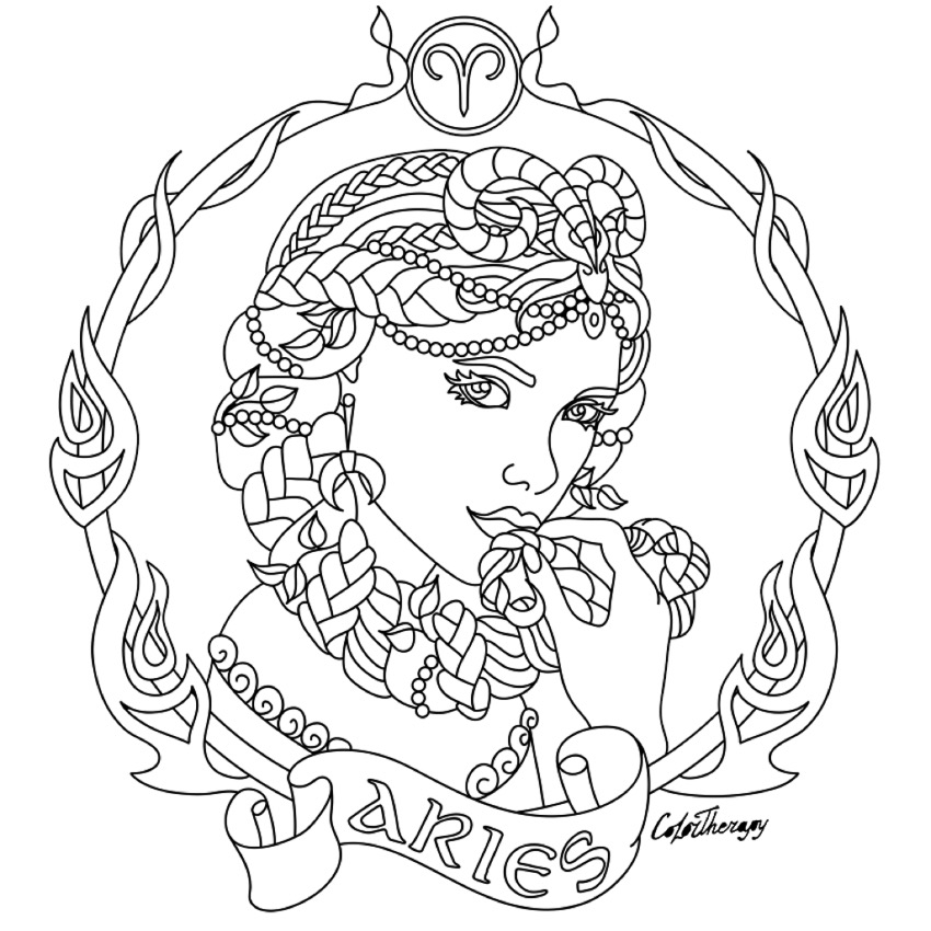 850x850 Aries Zodiac Beauty Colouring Page Craft Ideas
