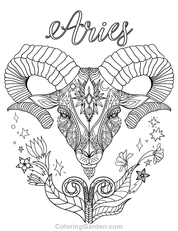 600x776 Free Printable Zodiac Adult Coloring Page Featuring Aries The Ram